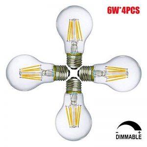 6W Ampoules LED E27 Dimmable A19 / A60 Ampoules basse consommation, Ampoule à économie d'énergie, LED Filament Ampoule à lampe, Blanc Chaud, ø60mm (4-pack) de la marque Suncentech image 0 produit