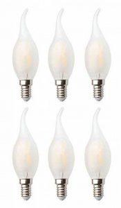 6X Ampoules Incandescentes De Filament De La Bougie Congelée En Verre 20W Dimmable AC 220-240V E14 2W LED ampoules, lampe de bougie de pointe de flamme d'illumination élevée, Blanc chaud de la marque JCKing image 0 produit