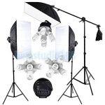 Abeatstudio Softbox Kit d'arrière-plan avec éclairage continu 3375W Ampoules lumière du jour 15x225W 5400K, 5ampoules à douille, 4toiles de fond (noir/blanc/vert/gris), 3supports de lampe de 2m, 1support de fond de 2x3m, 1perche, 1réflecteu image 1 produit