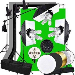 Abeatstudio Softbox Kit d'arrière-plan avec éclairage continu 3375W Ampoules lumière du jour 15x225W 5400K, 5ampoules à douille, 4toiles de fond (noir/blanc/vert/gris), 3supports de lampe de 2m, 1support de fond de 2x3m, 1perche, 1réflecteu image 0 produit