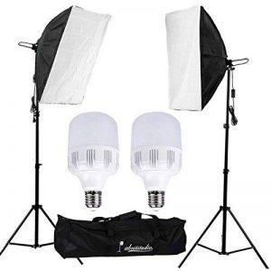 Abeststudio 50W 5500K Softbox kit d'éclairage continu pour studio photo, Boîte à lumière 50x70cm Soft Box,2x 25W LED Ampoule,2M Adjustable Light Stand with Carry Bag de la marque Abeatstudio image 0 produit