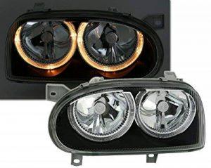 AD Tuning GmbH & Co KG Ensemble de phares Angel Eyes, Verre Transparent Noir, avec veilleuse de la marque AD Tuning GmbH & Co. KG image 0 produit