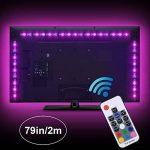 Adoric Ruban LED RGB 2M 5050 SMD 60 LEDs Light Strip Flexible Multicolore Décoration Chambre TV Tableau Miroir avec Télécommande de 17 Touches+5 piles bouton de la marque Sunnest image 1 produit
