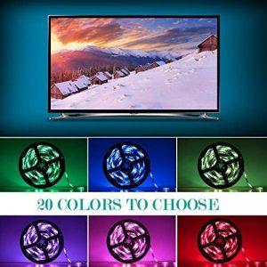 Adoric Ruban LED RGB 2M 5050 SMD 60 LEDs Light Strip Flexible Multicolore Décoration Chambre TV Tableau Miroir avec Télécommande de 17 Touches+5 piles bouton de la marque Sunnest image 0 produit