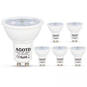 AGOTD Ampoule GU10 LED 5W 230V, equivalent Ampoule Halogene 35W 40W, Non Réglable,400lm, Blanc Chaud, 3000K, 100v-240 Vac, Culot GU10, Lot de 6 units de la marque AGOTD image 0 produit
