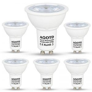 AGOTD Ampoule LED GU10 MR16 LED Dimmable 7W 230V,Haute Compatibilité, No Flicker, No Noise, Equivalent Ampoule Halogene 50W, CE ERP,560lm, Blanc Chaud, 3000K, 220v-240 Vac, Culot GU10, Lot de 6 units de la marque AGOTD image 0 produit
