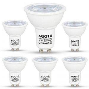 AGOTD Ampoule LED GU10 MR16 LED Dimmable 7W 230V,Haute Compatibilité, No Flicker, No Noise, Equivalent Ampoule Halogene 50W, CE ERP,560lm, Blanc Chaud, 3000K, 220v-240 Vac, Culot GU10, Lot de 6 units de la marque AGOTD image 0 produit