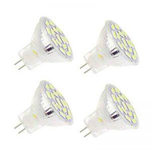 Ahevo ampoule LED Gu4.0 MR11 3.5 W , équivalent à 25-35 W ampoules halogènes, Gu4.0 Base AC/DC 12 V, 350 lm, 120 ° Faisceau Large, Blanc, éclairage encastré, éclairage Track, Lot de 4 (6000 K), blanc, GU4, 3.50 wattsW 12.00 voltsV de la marque Ahevo image 0 produit