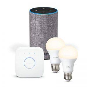 Amazon Echo (2ème génération), Tissu gris chiné + Kit de démarrage Philips Hue White E27 (2 ampoules + pont de connexion Hue) de la marque image 0 produit