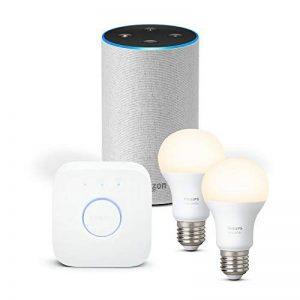 Amazon Echo (2ème génération), Tissu sable + Kit de démarrage Philips Hue White E27 (2 ampoules + pont de connexion Hue) de la marque image 0 produit