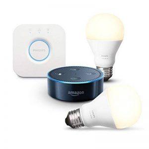 Amazon Echo Dot (2ème génération), Noir + Kit de démarrage Philips Hue White E27 (2 ampoules + pont de connexion Hue) de la marque image 0 produit