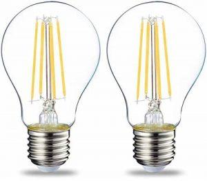 AmazonBasics Ampoule LED E27 A60 avec culot à vis, 7W (équivalent ampoule incandescente 60W), transparent avec filament - Lot de 2 de la marque AmazonBasics image 0 produit