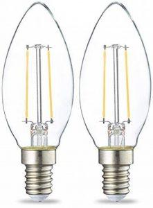 AmazonBasics Petite ampoule bougie LED E14 B35 avec culot à vis, 2.1W (équivalent ampoule incandescente de 25W), transparent avec filament - Lot de 2 de la marque AmazonBasics image 0 produit