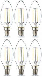 AmazonBasics Petite ampoule bougie LED E14 B35 avec culot à vis, 2.1W (équivalent ampoule incandescente de 25W), transparent avec filament - Lot de 6 de la marque AmazonBasics image 0 produit