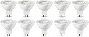 AmazonBasics Spot LED type GU5.3 MR16, 4.5W (équivalent ampoule incandescente de 35W), blanc chaud - Lot de 10 de la marque AmazonBasics image 0 produit
