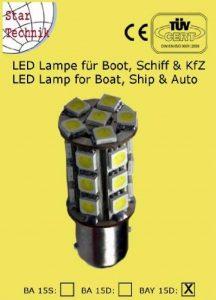 Ampoule 24 SMD LED pour feux de position bateaux Nautisme navigation BAY-15D. 12 Volt - lampe économique pour Marine Lampe 12V: Socle BAY 15D de la marque Spartechnik image 0 produit