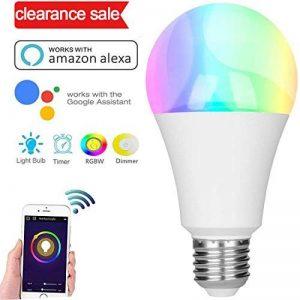 Ampoule Alexa, ampoule LED Smart Hue, ampoule E27 Ampoule RGBW compatible avec Amazon Alexa et Google Home, Dimmable, 60W équivalent, jusqu'à 16 millions de couleurs, contrôlable via App, 7W de la marque GresatekEU image 0 produit