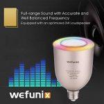 Ampoule Bluetooth Haut Parleur musicale, Dimmable LED 5W blanc + 5W RGB E27 Lampe Ampoule Couleur Changeante, APP À Distance Contrôlée Musique sans fil Stéréo Enceinte Audio avec Ampoule Intelligente par iOS ou Android - Wefunix BS-06 (argent) de la marqu image 1 produit