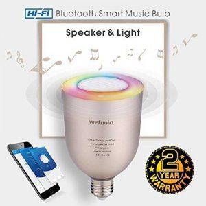 Ampoule Bluetooth Haut Parleur musicale, Dimmable LED 5W blanc + 5W RGB E27 Lampe Ampoule Couleur Changeante, APP À Distance Contrôlée Musique sans fil Stéréo Enceinte Audio avec Ampoule Intelligente par iOS ou Android - Wefunix BS-06 (argent) de la marqu image 0 produit