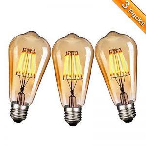 Ampoule E27 Vintage, Elfeland 6W Edison Ampoule LED Antique Filament Ambre Verre 2200K 600LM Dimmable Lumière Blanc Chaud Parfait pour Nostalgie et L'éclairage Rétro Modèle ST64-3 Packs de la marque Elfeland image 0 produit