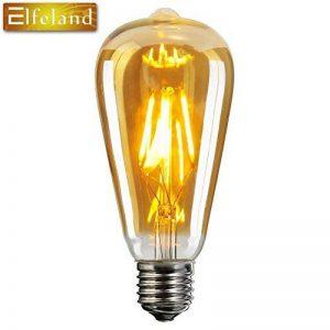 Ampoule E27 Vintage, Elfeland 6W Edison Ampoule LED Antique Filament Ambre Verre 2200K 600LM Dimmable Lumière Blanc Chaud Parfait pour Nostalgie et L'éclairage Rétro Modèle ST64 de la marque Elfeland image 0 produit