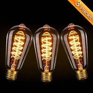 Ampoule Edison, Elfeland 3W Ampoule LED E27 Vintage Lampe Décorative Antique Spirale Filament 2200K 180LM Lumière Blanc Chaud Convient à l'éclairage Rétro et Nostalgique Modèle ST64-3 Packs de la marque ELFELAND image 0 produit