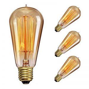 Ampoule Edison, Elfeland E27 60W Ampoule Incandescence Antique Filament Industriel 2200K 180LM Blanc Chaud Lumière Décoration Idéal pour Eclairages Nostalgiques et Rétro Modèle ST58-3 Packs de la marque Elfeland image 0 produit
