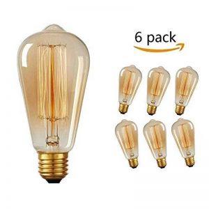 Ampoule Filament Edison, Massway 6 paquets E27 Rétro Antique Lampe décorative, 40W, 2700K Dimmable Blanc Chaud ampoule incandescente de la marque Massway image 0 produit
