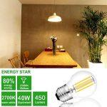 Ampoule à filament G45 LED E27 4W 450LM équivalent 40W vintage Verre Mini Globe Ampoule Dimmable lumière du jour 2700K 4 Pack de la marque AOJA image 2 produit