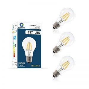 Ampoule Filament LED E27, 6W Équivalent à 60W Ampoules à Incandescence, 2700k Blanc Chaud, 600 Lumens, Culot E27, Ampoule Rétro, Ampoule Vintage, Écologiste et Économiser l'énergie, Pack de 3 unités de la marque Kyodoled image 0 produit