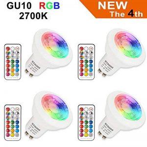 Ampoule GU10 LED Couleur Changement 3W Dimmable LED Spot Bulb RVB + Blanc Chaud 2700K,12 Couleurs avec Télécommande, AC 85V - 265V, pour Applique, Rail Track, Plafonnier Encastré (4 ampoules + 4 télécommandes) de la marque HYDONG image 0 produit