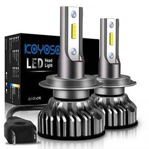Ampoule H7 LED, 10000LM Phares pour Voiture et Moto, Ampoules Auto de Rechange pour Lampes Halogènes et Kit Xenon, 12V-24V, 6000K, 2 Ampoules de la marque koyoso image 0 produit