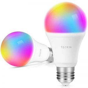 Ampoule Intelligente WiFi E27 Couleur Dimmable, TECKIN 800 lm LED smart Bulb , Contrôle à Distance via APP Smart Life (IOS et Android) , Compatible avec Amazon Alexa ,Google Home et IFTTT pas besoin de Hub,A19 Ampoule RVB équivalente à 60 W (7,5 W), (2pac image 0 produit