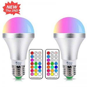 Ampoule LED Couleur E27 10W Changement de Couleur Dimmable LED Bulbs 12 choix de couleurs,21 key Télécommande Compris (Lot de 2) de la marque DaSinKo image 0 produit