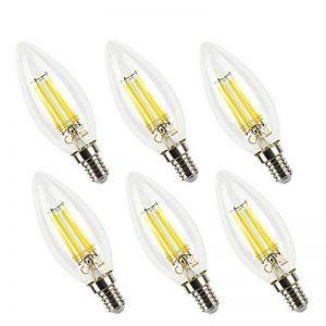 Ampoule LED E14 C35 Blanc Chaud Dimmable 5W Ampoule de Filament LED, 2700K, Équivalent à Ampoule Incandescente de 50W, 470LM, AC 220-240V, Angle du faisceau 360°, pour Chandeliers, Lustres, Chambre, Lot de 6 de la marque HYDONG image 0 produit