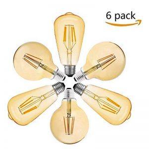 Ampoule LED Edison, Massway 6 paquets E27 Rétro Antique Lampe décorative, 4W, 2700K Blanc Chaud (LED) de la marque Massway image 0 produit