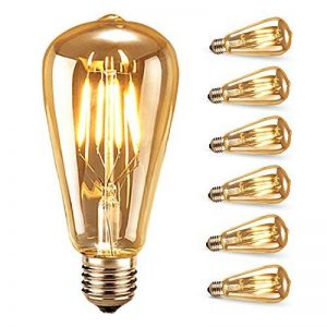 Ampoule LED Edison,Samione Lampe Décorative Ampoules à incandescence Rétro Edison Ampoule Antique Lampe 6 Pack [Classe énergétique A++] de la marque Samione image 0 produit