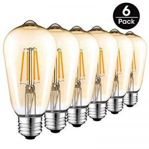 Ampoule LED Edison Vintage, E27 4W (Equivalent 40W Incandescence) 400LM Ampoule Filament Style Antique 2700K Blanc Chaud ST64 Pack de 6, Couleur OR de la marque AidSci image 0 produit