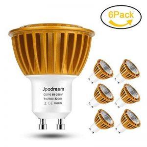 Ampoule LED GU10, 7Watt COB Spot LED (=70W Ampoule Halogène équivalen), Blanc Chaud 3000K, 600lm, AC85-265V, 60° Angle d'Éclairage, Lot de 6 by Jpodream de la marque Jpodream image 0 produit