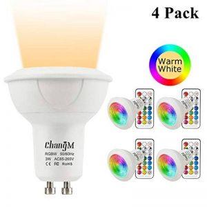 Ampoule LED GU10 Couleur Changement RGB+Blanc Chaud, 3W Spotlight Lights Ampoule 2700K Dimmable par Télécommande Sans Fil, AC 85V-265V 20W D'équivalent Incandescent (Pack of 4) de la marque ChangM image 0 produit