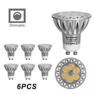 Ampoule LED GU10 MR16 LED Dimmable 7W 230V Haute Compatibilité Equivalent Ampoule Halogene 50W-70W, CE ERP,560lm, Blanc Chaud, 6000K, 220v-240 Vac, Culot GU10, Lot de 6 units ° Angle de faisceau étroit boîtier en aluminium coulé sous pression Lot de 6 de image 0 produit