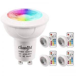 Ampoule LED GU10 Spot Ampoules 3W Changement De Couleur RGBW Dimmable Par 21 Touches Télécommande RGB Blanc Froid 6000K 20W Ampoules Halogènes Equivalent (Pack of 4) de la marque ChangM image 0 produit