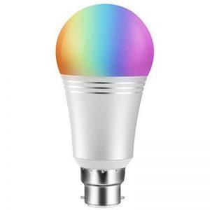 Ampoule LED intelligente Wi-Fi couleur - Avec variateur d'intensité - Ampoule à culot B22- Contrôle à distance à partir d'appareils intelligents et commande vocale par Amazon Alexa et Google Home - Moyeu pas nécessaire (puissance 7 W, lumière du jour bla image 0 produit
