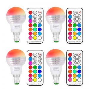 Ampoule LED RGBW avec Télécommande Sans Fil,Changement de Couleur Dimmable LED Bulbs,3W (=20W Ampoule Halogène), Blanc Froid, 6000K, Culot E14, Lot de 4 unités,Lampe d'ambiance(4 Pack E14 +6000K) de la marque Sunpion image 0 produit