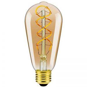Ampoule ST64 Filament Flexible LED Ancien Edison - Dimmable,4 Watt,Equivalent à 25 Watt,Blanc Extra Chaud 2200K,E27 Culot,Ambré,Double Filage en Spirale,Classe énergétique A++ de la marque Yunte image 0 produit