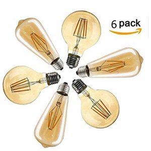 Ampoule Vintage, Elfeland 6x E27 4W Ampoule Filament LED Ampoule Edison Lumière Décorative 2200K 400LM Idéal pour Nostalgie et l'éclairage Rétro Blanc Chaud Modèle G80 & ST64(Non Dimmable) de la marque Elfeland image 0 produit