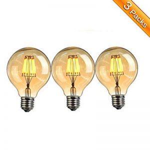 Ampoule Vintage LED, Elfeland E27 6W Ampoule Edison Lampe Rétro Antique Dimmable Ampoule Décorative Amber 600LM 2200K Lumière Blanc Chaud pour Lustres Plafonniers Modèle G80-3 Packs de la marque Elfeland image 0 produit