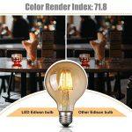 Ampoule Vintage LED, Elfeland E27 6W Ampoule Edison Lampe Rétro Antique Dimmable Ampoule Décorative Amber 600LM 2200K Lumière Blanc Chaud pour Lustres Plafonniers Modèle G80 de la marque Elfeland image 2 produit