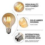 Ampoule Vintage LED, Elfeland E27 6W Ampoule Edison Lampe Rétro Antique Dimmable Ampoule Décorative Amber 600LM 2200K Lumière Blanc Chaud pour Lustres Plafonniers Modèle G80 de la marque Elfeland image 4 produit