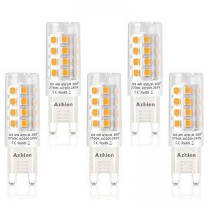Ampoules LED G9 4W, Azhien Ampoule LED 28W 33W 40W équivalent, Lampes LED Blanches Chaudes 2700K, 200-240V AC, Sans Scintillement, Sans éclairage, Brillant, Angle de 360 ,450Lm, CRI>82, Pack de 5 de la marque Azhien image 0 produit